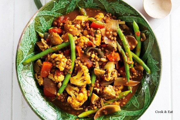 Чечевица карри с овощами